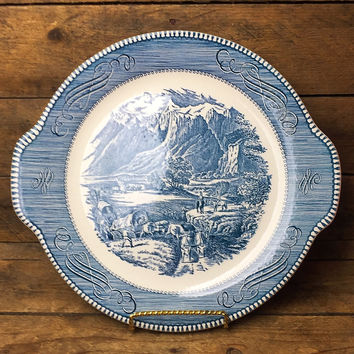 Vintage Currier & Ives Blue Platter - The Rocky Mountains