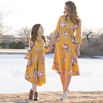 Mommy and Me Matching Yellow Floral Maxi Dresses
