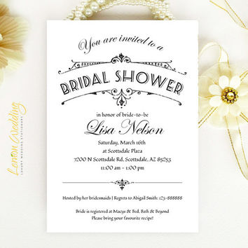Bridal Shower Invitation - Retro vintage style black and white script invitation printed on luxury pearlescent paper