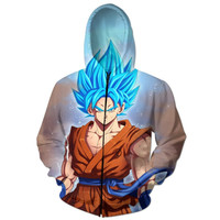 Super Saiyan God All Over Print Blue Hair Goku Dragon Ball Z Zip Up Hoodie
