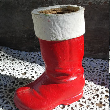 "Vintage Paper Mache Santa Boot Candy Container, 6"" tall, 1940s, Displa, Holiday Decor, Red Boot, Storage Container, Santa Claus Boot"
