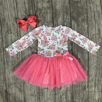 Girls Unicorn dress with Bow-2 colors
