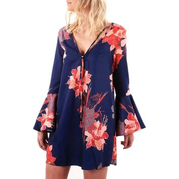 Women Sexy V Neck Flare Long Sleeve Floral Print Party Mini Dress