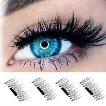 4 Pcs/Pairs Magnetic False Fake Eyelashes Extension Eye Beauty Makeup Accessories Soft Hair Magnetic Eyelashes easy to wear