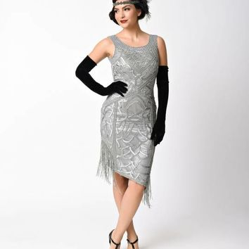 Unique Vintage 1920s Style Antique Silver Sequin Gilda Flapper