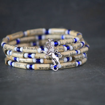The Lion, the Witch, and the Wardrobe Paper Book Bead Bracelet - Spiral Wrap Bracelet - Memory Wire