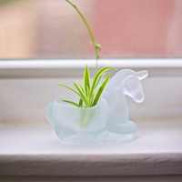 Frosted Glass Fantasy Unicorn Planter