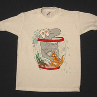Tee Shirt with Kitten and Fish, Hand Painted, White, Short Sleeves, Jerzees 6-8 Small