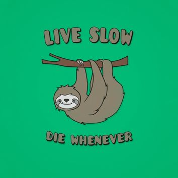 Funny & Cute Sloth 'Live Slow Die Whenever' Cool Statement / Lazy Motto / Slogan Duvet Cover by Badbugs_art | Society6