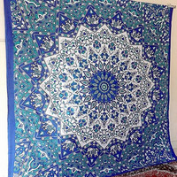 Cotton Fabric Mandala Blue Hippie Wall Hanging Psychedelic Star Tapestry Throw Large Bedspread Boho Home Decor