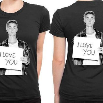 MDIGGW7 Justin Bieber I Love You 2 Sided Womens T Shirt