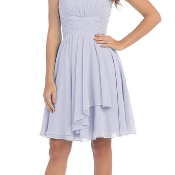 Starbox USA S6074 Sweetheart Pleated Bust Drape Skirt Silver Above-Knee Dress Strapless