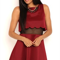 Short Skater Dress with Scalloped Illusion Edge
