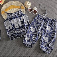 2017 New Cute Little Baby Kids Girls Elephant Vest Tops+Long Pants Summer Clothes Sets