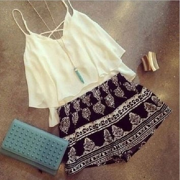 Strap Backless Crop Top Flower Print Shorts Beach Two Pieces Set