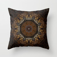 Rich Brown and Gold Textured Mandala Art Throw Pillow by Sheila Wenzel