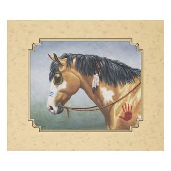 Native American Buckskin Pinto Horse Yellow Fleece Blanket