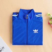 """Adidas""Unisex Classic Clover Embroidery Three Bars Long Sleeve Sports Couple Coat Zip Tops"