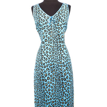 Black & Blue Leopard Print Dress