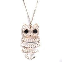 Spinningdaisy White Gold and Black Eyed Owl Necklace