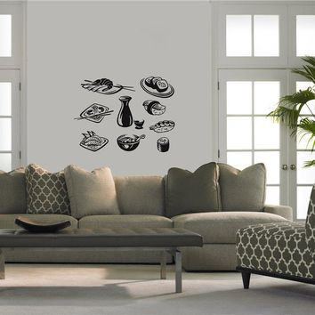 Hot New Sushi Vinyl Wall Decal Japanese Food Business Sushi Store Fish Shrimp Mural Art Wall Sticker Shop Window  Decoration