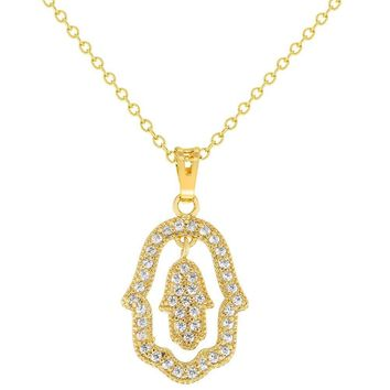 """Gold Tone White Crystal Double Hamsa Hand Pendant Womens Necklace Protection 19"""""""