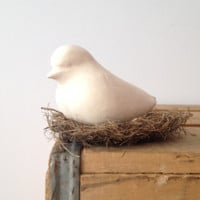 Bird - Ceramic Bird Sculpture - Matte - Slip Cast White Swallow