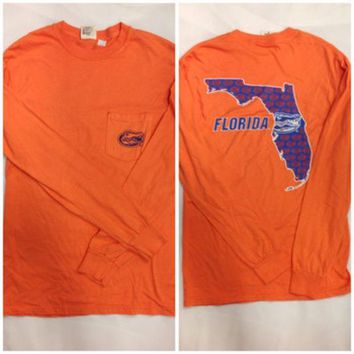ESBON NCAA Florida Gators Comfort Colors Orange Long Sleeve Tee With Pocket Square