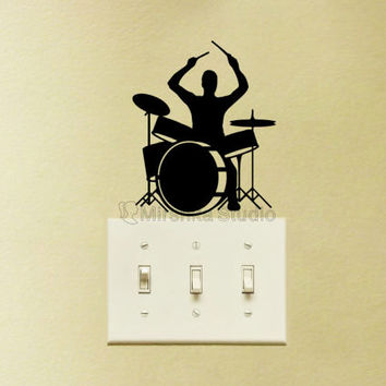 Drum Set Light Switch Velvet Decal  - Drum Player Decor - Music Mac Decal - Music Lover Art - Drummer Laptop Sticker - Gift For Music Lover