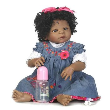 "Minidiva 22"" Soft Vinyl Silicone Real Life Like Reborn Baby Doll Dolls 100% Handmade Full Soft Silicone Black Girl"