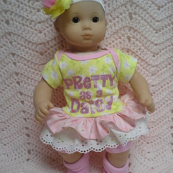"AMERICAN GIRL Bitty Baby Clothes ""Pretty as a Daisy"" (15 inch) doll outfit  dress, shorts, booties socks, and headband daisy glitter E1"