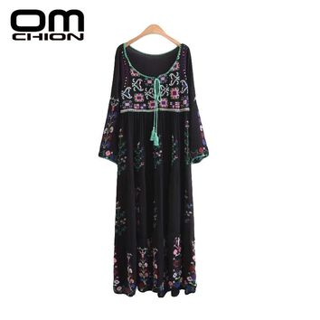 Summer Dress Floral Printed Long Sleeve Maxi Dress Embroidery Bow O Neck Women Dresses