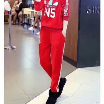 """Adidas"" Women Fashion Clover Letter Print Long Sleeve Hooded Sweater Set Two-Piece Sportswear"