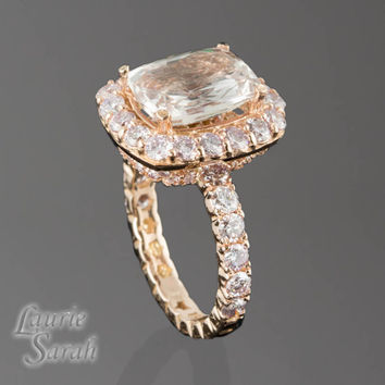 Peach colored Sapphire Engagement Ring with Natural Pink Diamond Side Stones in 14kt  Rose Gold - LS2921