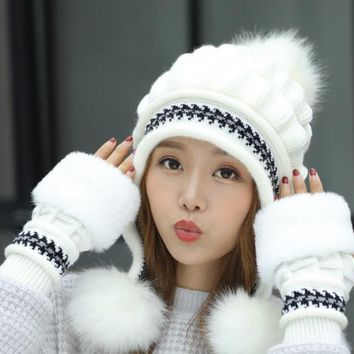 Girls Thicken Ski Snow Cap New Fashion Fur PomPoms Winter Women Beanie  Hats Female Skullies Warm Gloves + Knit Hat Set