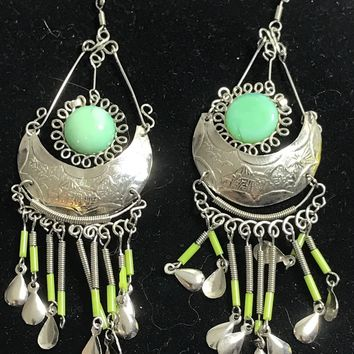 Chandelier Earrings Silver Tone Bluish Green Southwest
