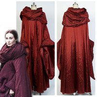 GoT Game of Thrones Costume Melisandre Red Dress Cloak Costume Adult Women Halloween Carnival Party Cosplay Costume Custom Made