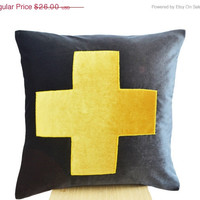 Valentine SALE Grey Pillow- Grey Yellow Throw Pillow - Velvet cushions -Decorative cushion cover-Velvet Throw pillow -gift pillow 14x14 -Gra