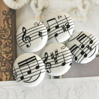 Fabric Buttons, Fridge Magnets, Music Magnets, Covered Buttons, Music Buttons, White Buttons,  Cloth Buttons, Flat Backs, 1.2 Inches 5's