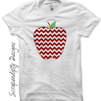 Iron on Apple Shirt PDF - Teacher Iron on Transfer / Girls Apple Chevron T-shirt / Kids Red Chevron DIY / First Day of School Outfit IT359-C