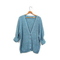 Slouchy Grunge Boyfriend Pocket Cardigan Sweater 80s Loose Knit Teal Blue Black Speckled Button Up Simple Jumper Men's Medium