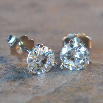 forever brilliant moissanite stud earrings - 2 carats, moissanite earrings in 14k white gold