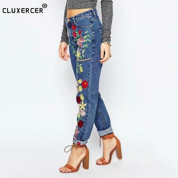 Jeans Women Embroidery Flower Jeans Pants Winter Autumn High Wait Denim Bottom Pencil Pant Casual Daily Femme Trouser