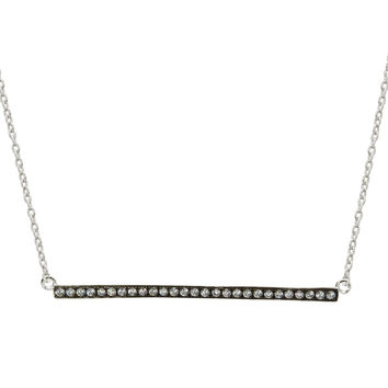 """Fine Sterling Silver Sideways Charcoal Bar Pendant Cubic Zirconia Stone Necklace, 16"""" + 1"""""""