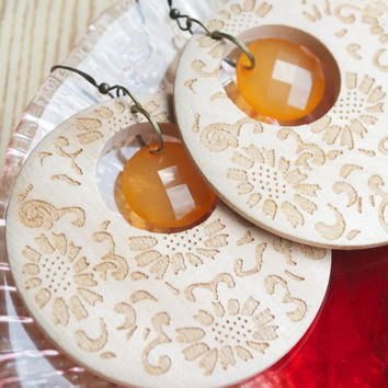 Carved Wooden Lace Hoop Earrings - Orange Faceted Beads