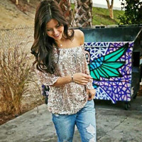 Off-shoulder Sexy Loose Shirt Tops Glistening Sequin T-Shirt  Sale