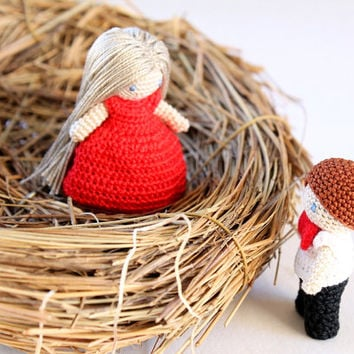 Miniature Couple in Love: Waldorf Inspired, Valentine's Day, Crochet Doll