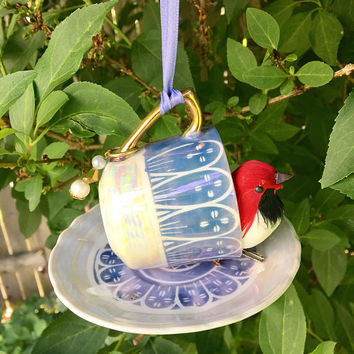 Repurposed Bird Feeder, Tea Cup Bird Feeder, Espresso Cup, Hanging Garden Accent, Kitchen Decor, Recycled Jewelry Craft, Upcycled Vintage
