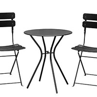 Living Express Outdoor 3 Piece Bistro Set of Table And 2 Chairs,Dining Set,Black