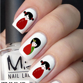 Christmas Chinese Doll nail decal